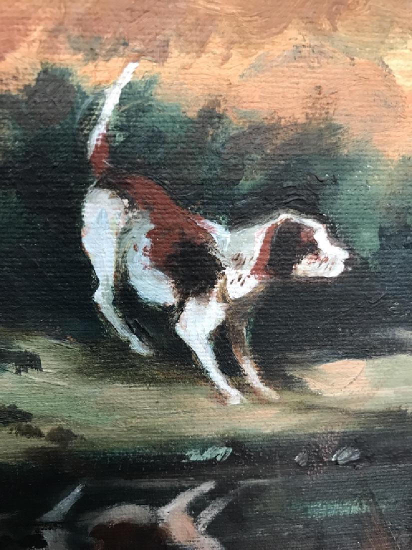 Framed Fox Hunt Oil On Canvas - 8