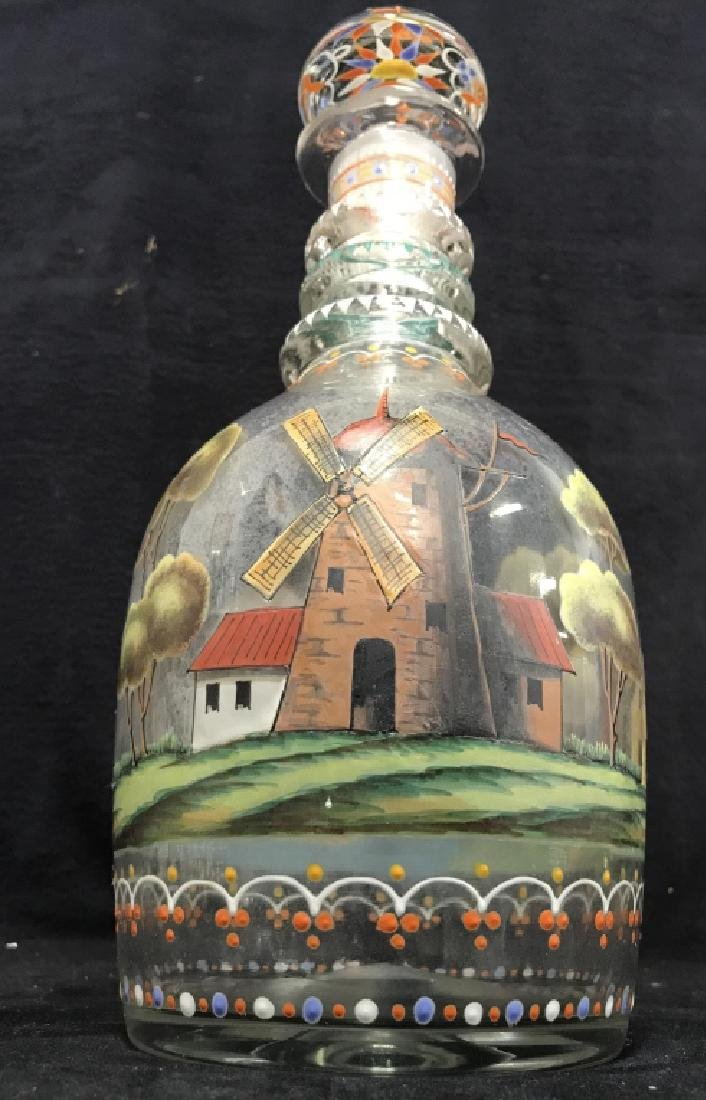 Hand Blown Hand Painted Glass Decanter