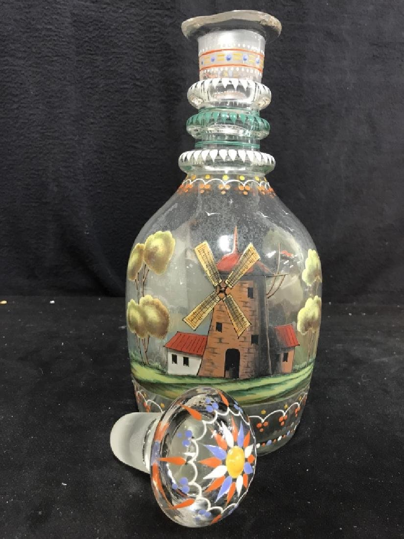 Hand Blown Hand Painted Glass Decanter - 7