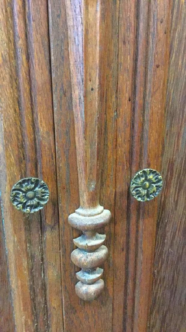 Vintage Carved Oak Storage Cabinet Chest - 10