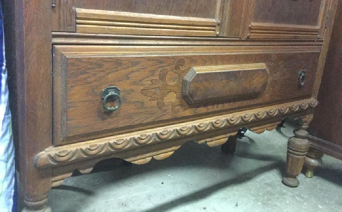 Vintage Carved Oak Storage Cabinet Chest