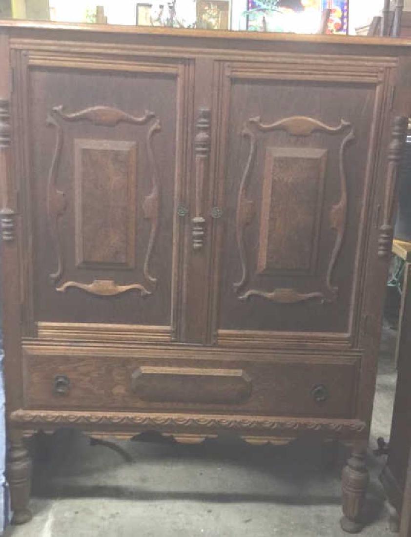 Vintage Carved Oak Storage Cabinet Chest - 2