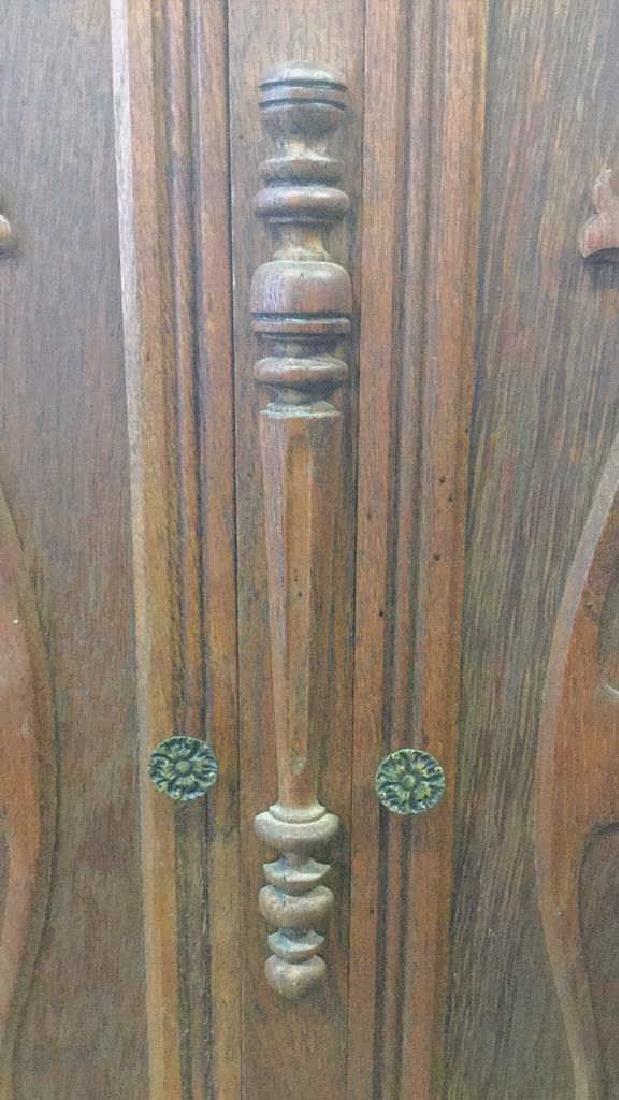 Vintage Carved Oak Storage Cabinet Chest - 3