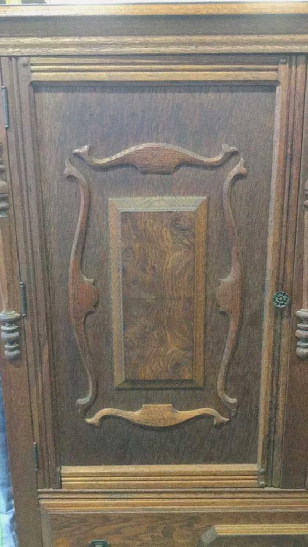 Vintage Carved Oak Storage Cabinet Chest - 4