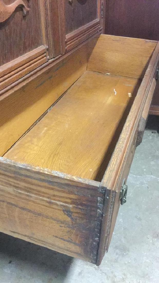 Vintage Carved Oak Storage Cabinet Chest - 5
