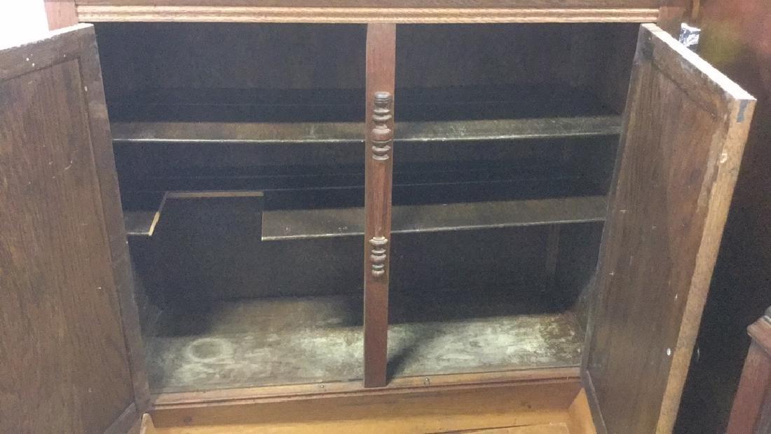 Vintage Carved Oak Storage Cabinet Chest - 6