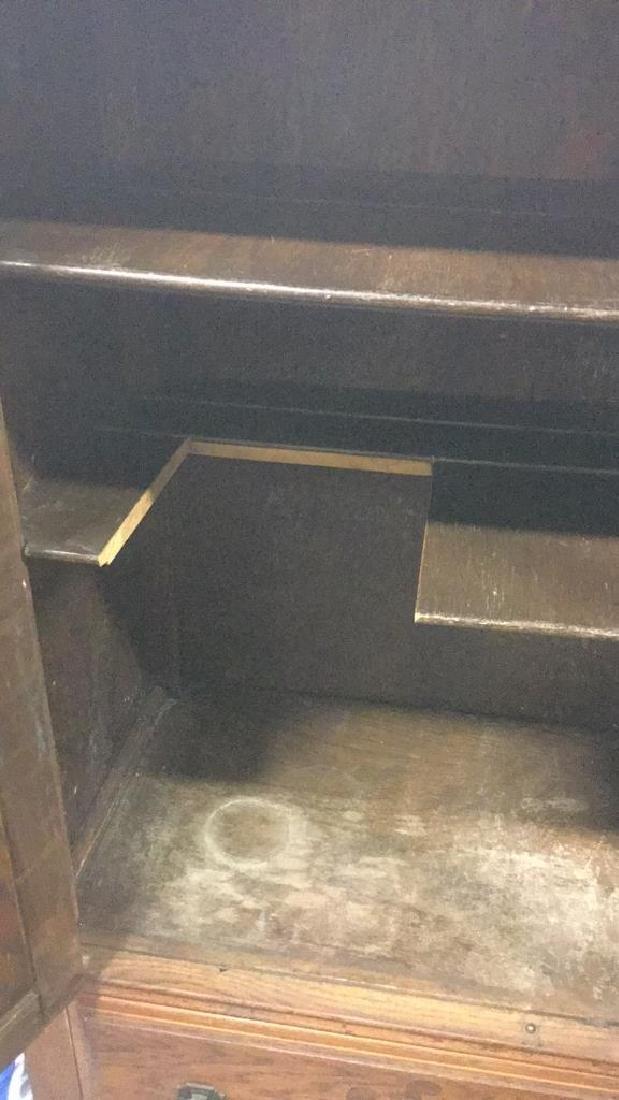 Vintage Carved Oak Storage Cabinet Chest - 7