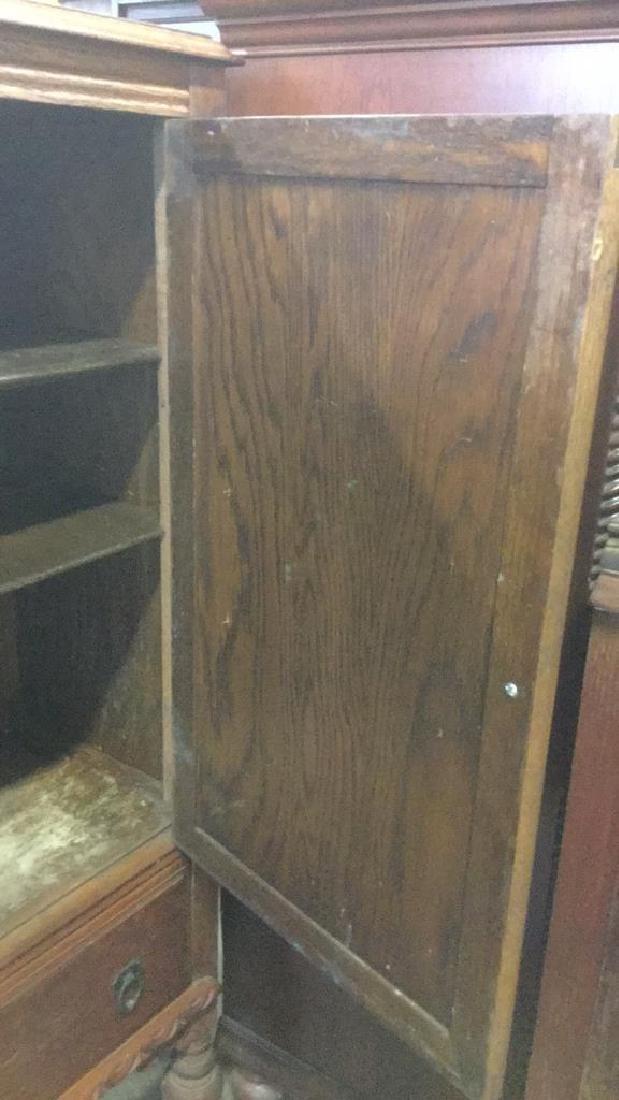 Vintage Carved Oak Storage Cabinet Chest - 8