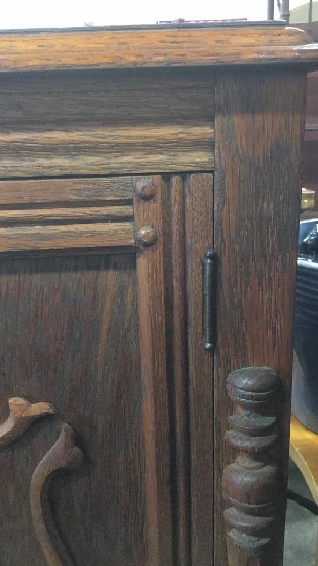 Vintage Carved Oak Storage Cabinet Chest - 9