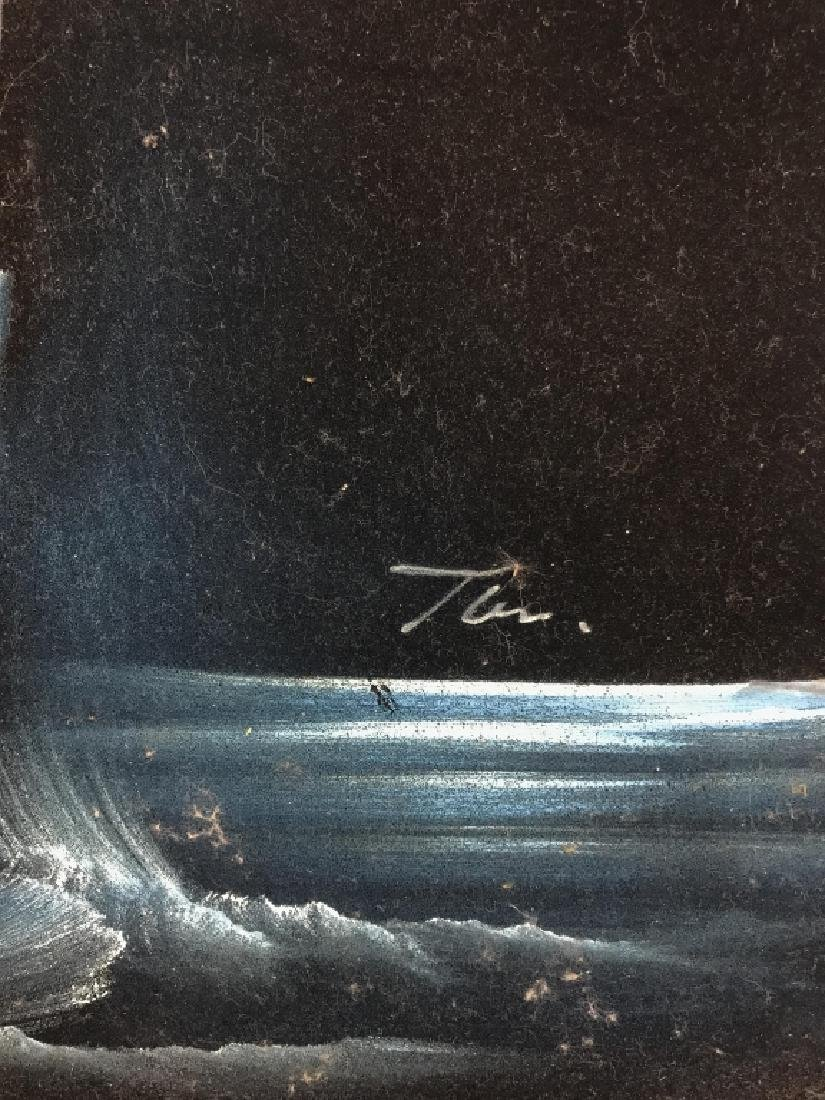 Signed Night Time Nautical Painting - 6