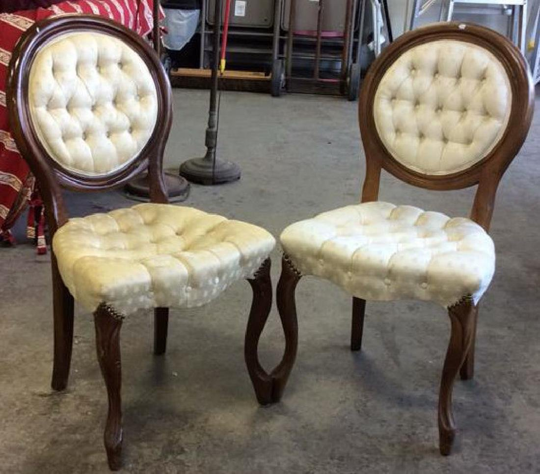 Pair Louis XIV Style Oval Back Chairs - 2