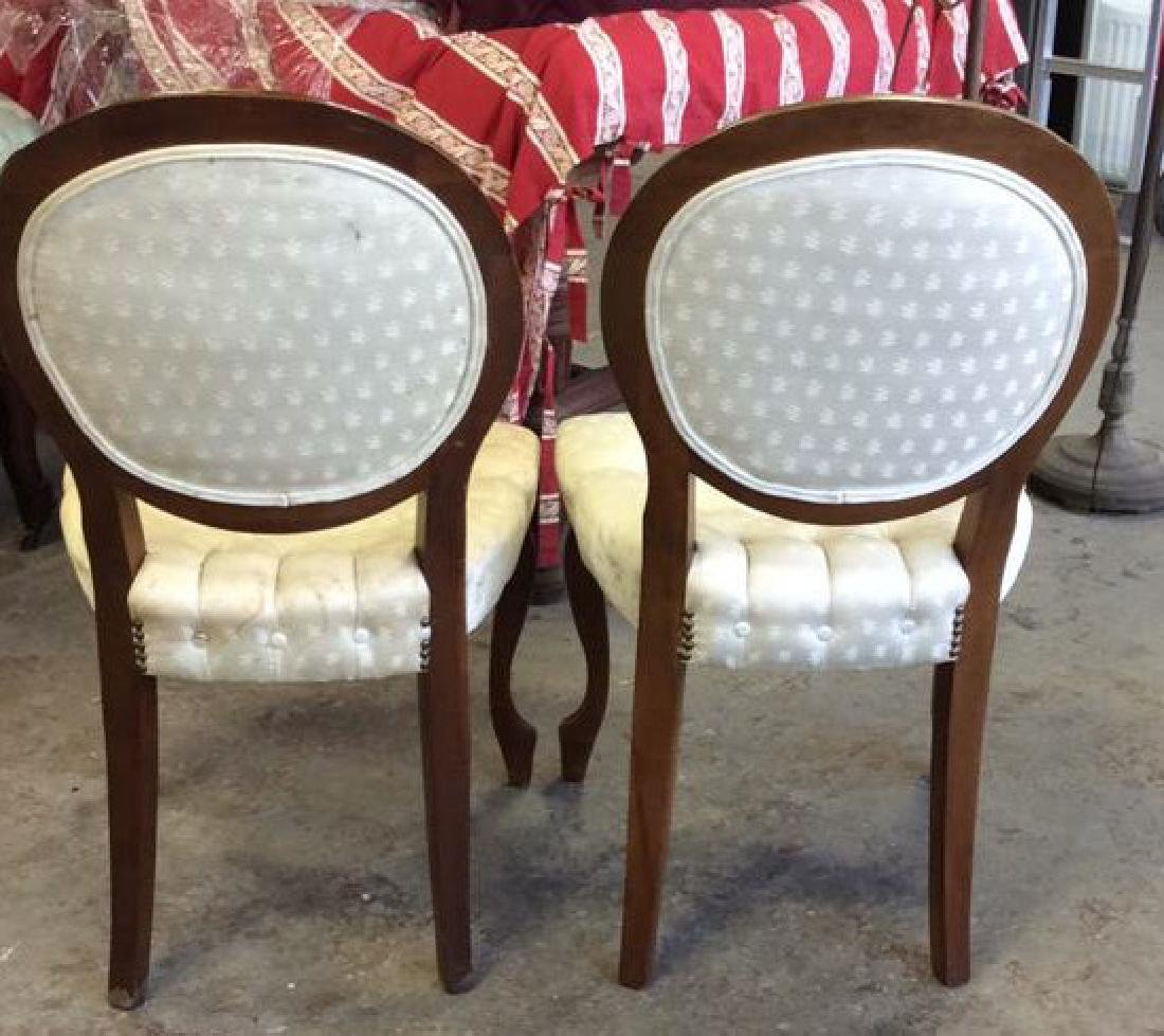 Pair Louis XIV Style Oval Back Chairs - 5