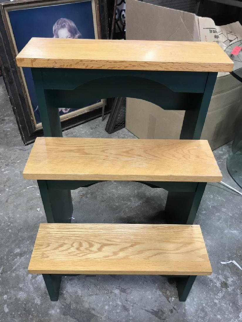 Wooden Three Step Stool Library Steps - 2