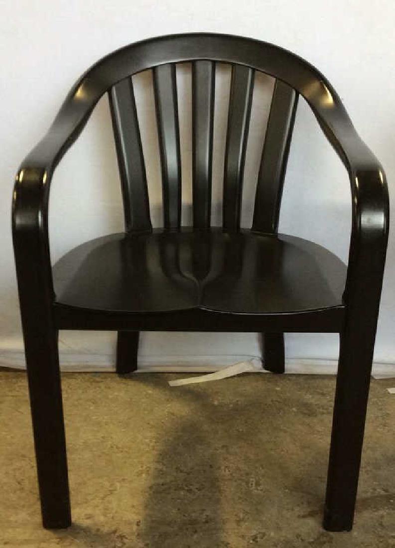 Black Wooden Arm Chair w Loose Seat Cushion