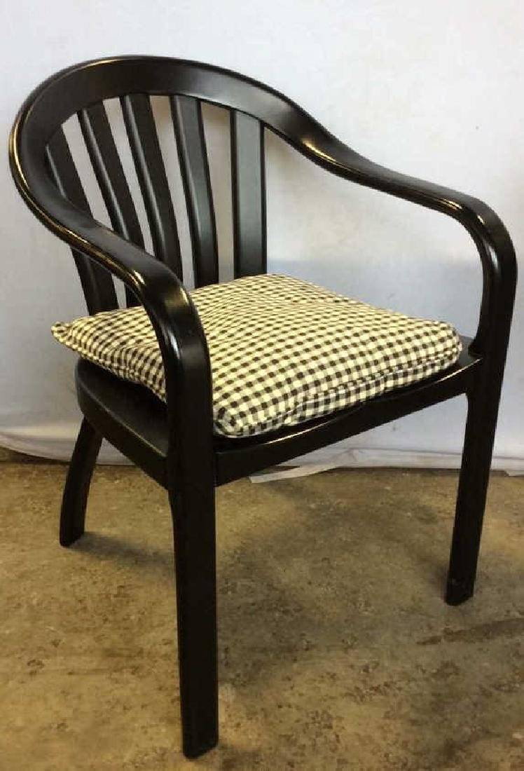 Black Wooden Arm Chair w Loose Seat Cushion - 2