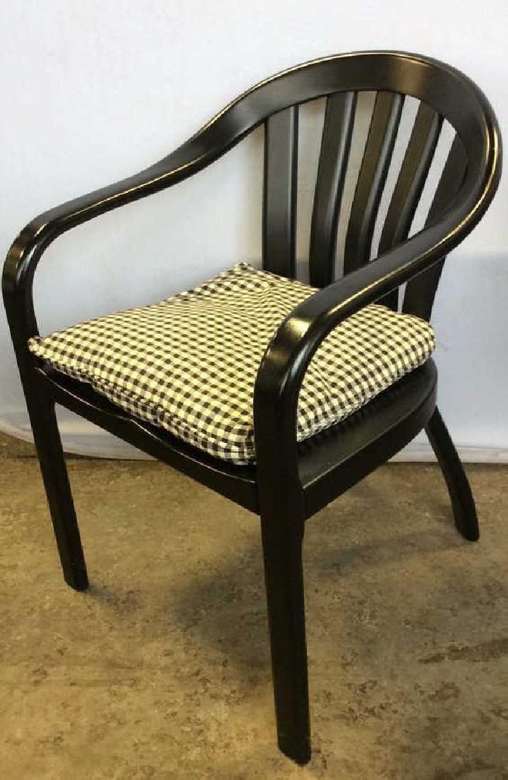 Black Wooden Arm Chair w Loose Seat Cushion - 3