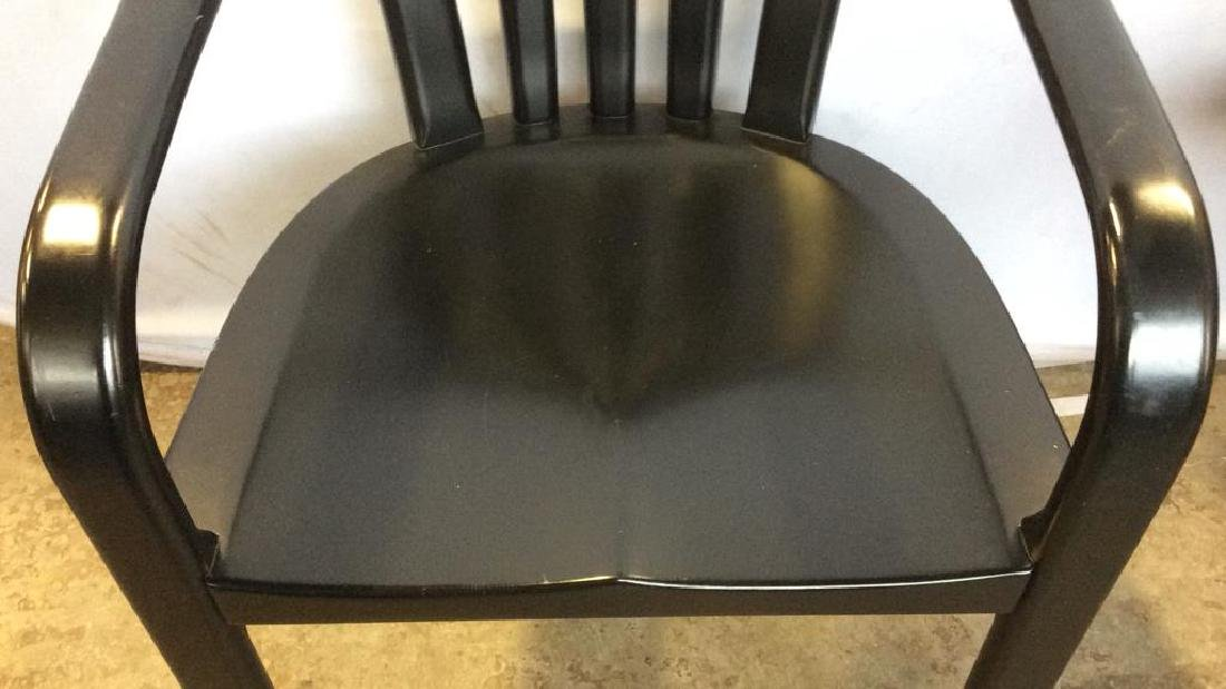 Black Wooden Arm Chair w Loose Seat Cushion - 8