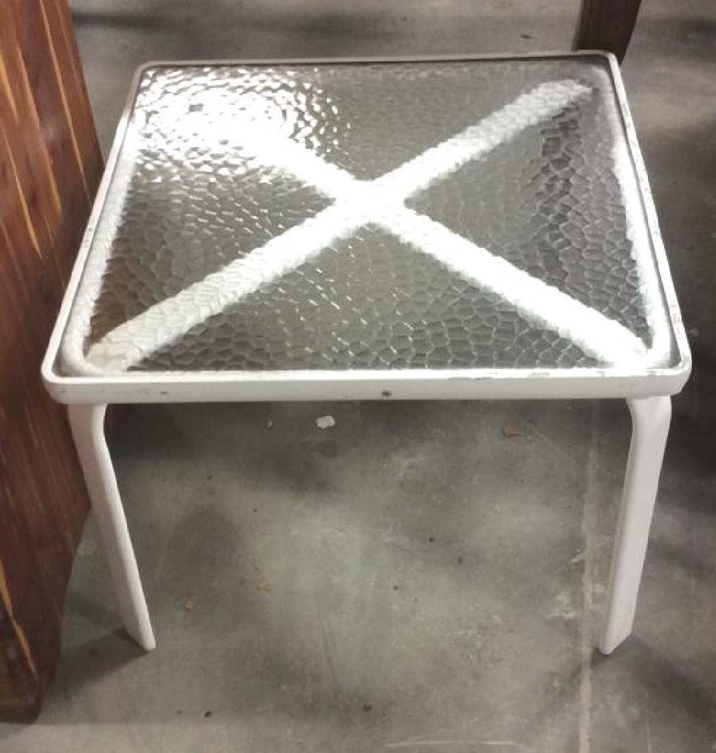 White Metal Tempered Glass Table - 2