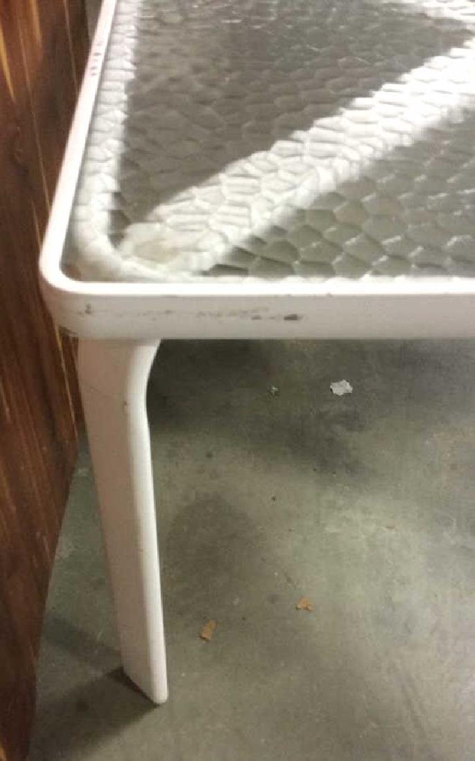 White Metal Tempered Glass Table - 3