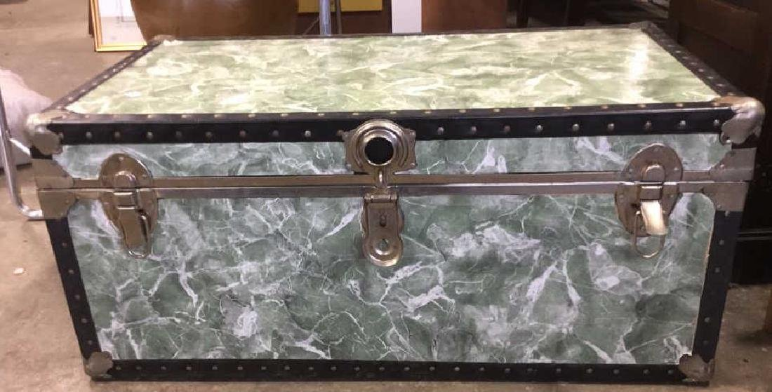 Vintage Trunk w Marbelized Contact Paper