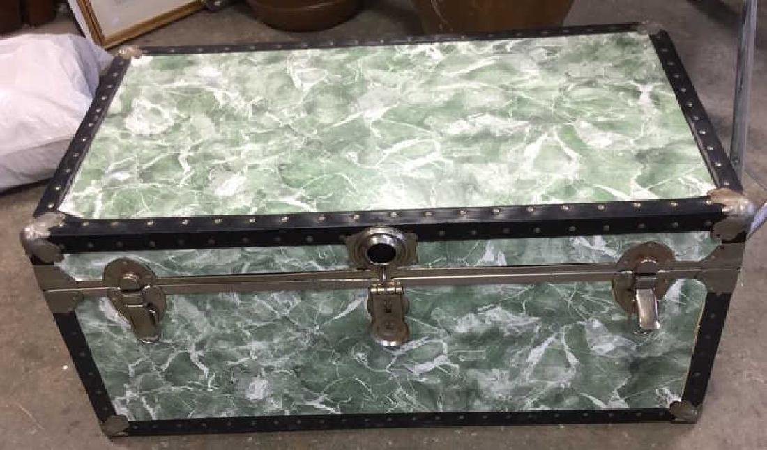 Vintage Trunk w Marbelized Contact Paper - 2