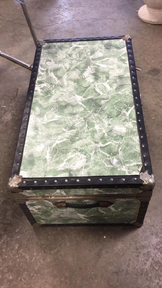 Vintage Trunk w Marbelized Contact Paper - 5