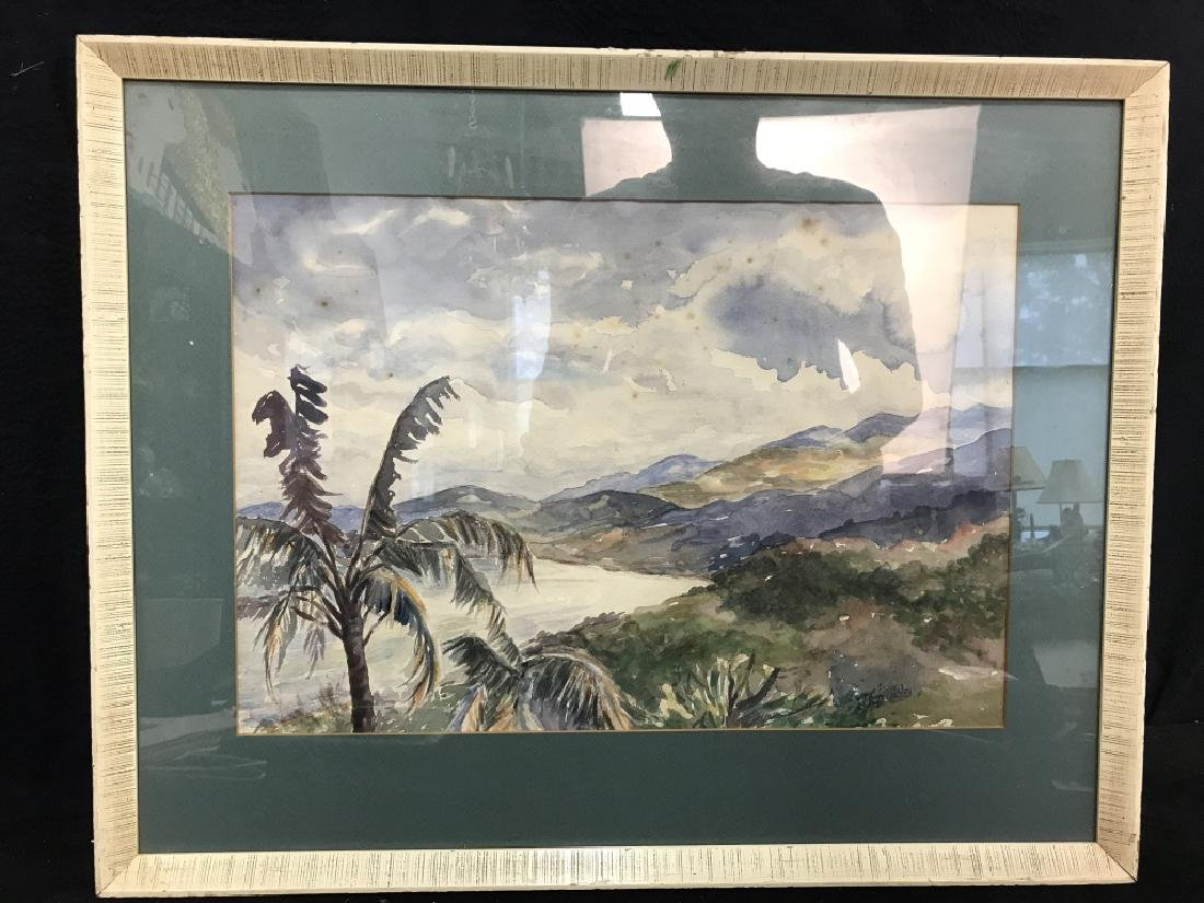 Signed Landscape Watercolor Painting