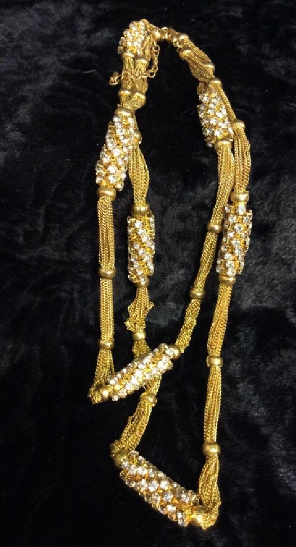 Woman's Gold Toned Chain Necklace w Rhinestones