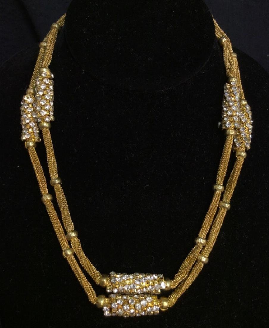 Woman's Gold Toned Chain Necklace w Rhinestones - 2