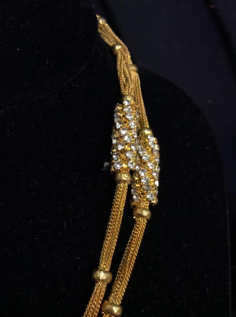 Woman's Gold Toned Chain Necklace w Rhinestones - 3