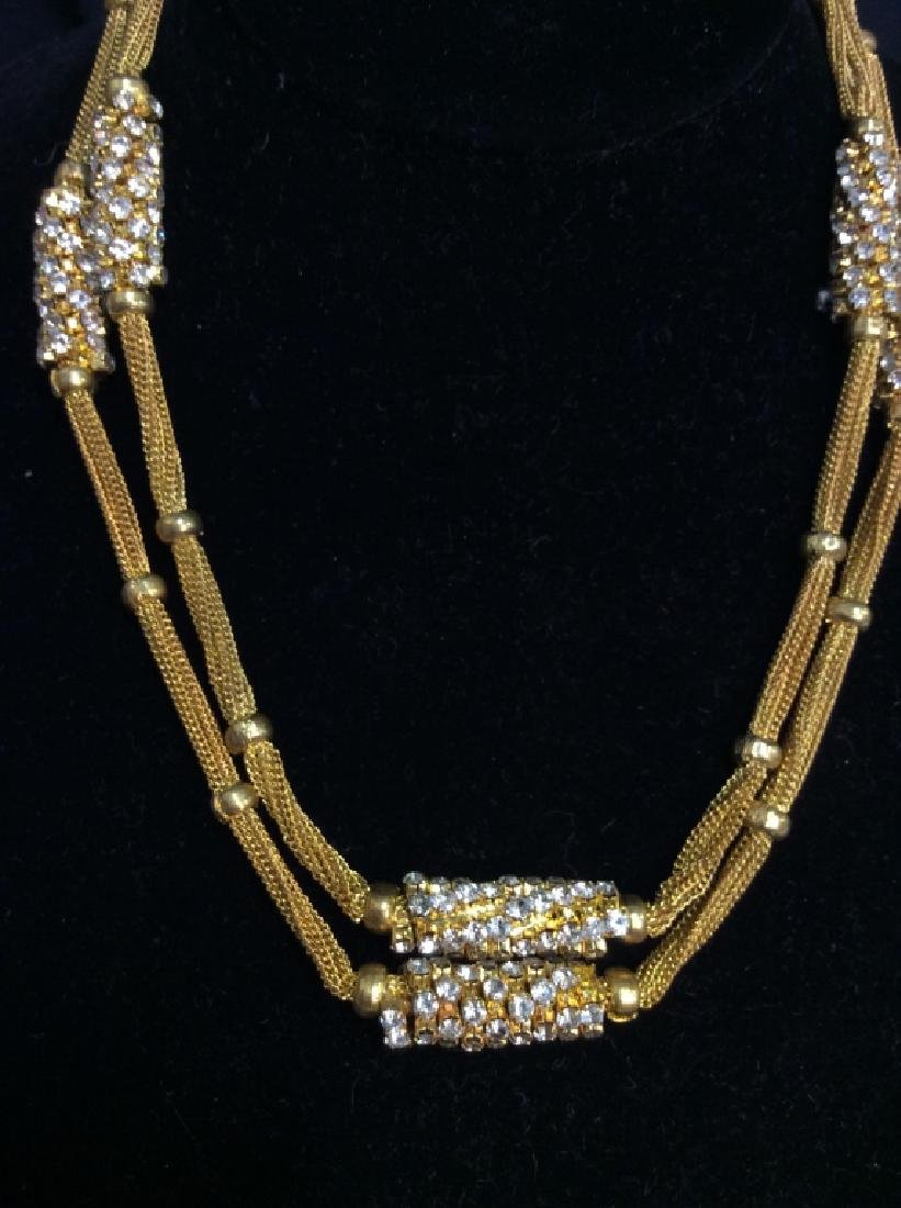 Woman's Gold Toned Chain Necklace w Rhinestones - 4