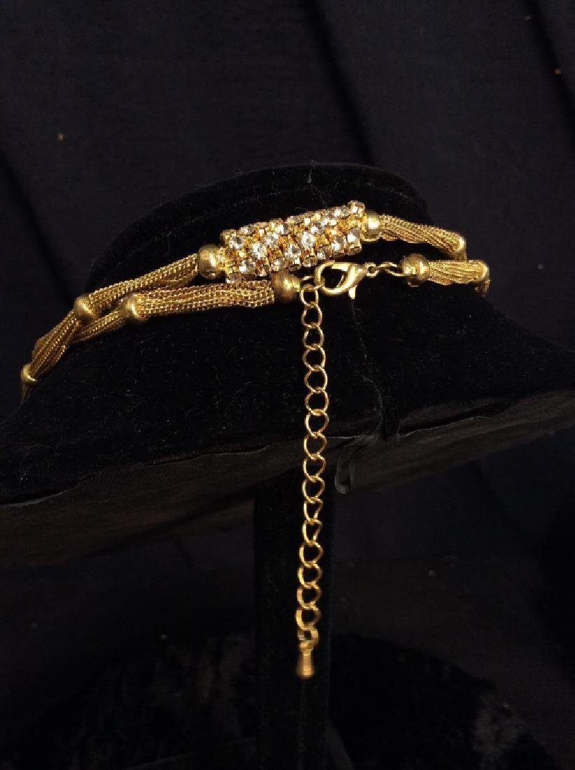 Woman's Gold Toned Chain Necklace w Rhinestones - 6