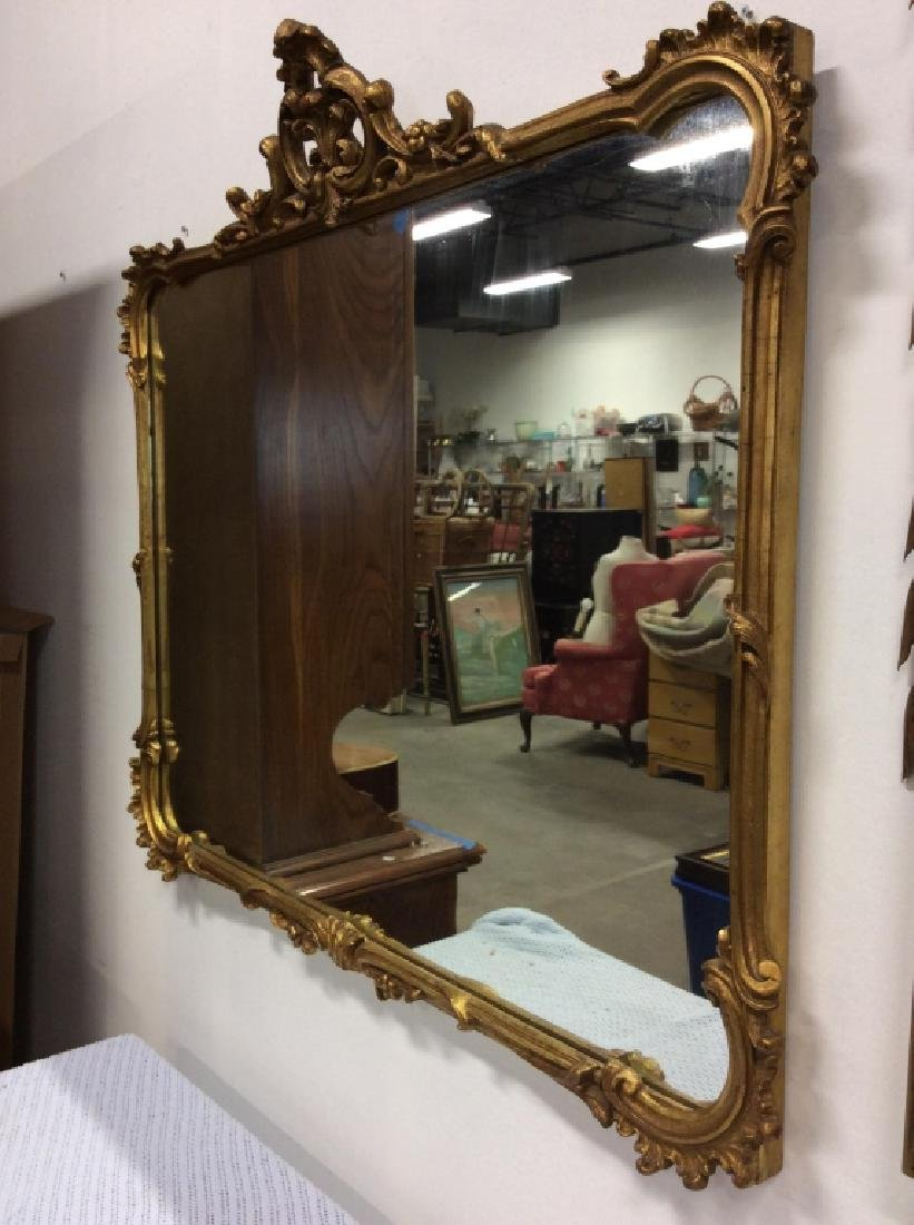 Vintage Carved Woods Gilt Frame Wall Mirror - 5