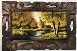 Autumn Stream Landscape On Cloth Oil Painting