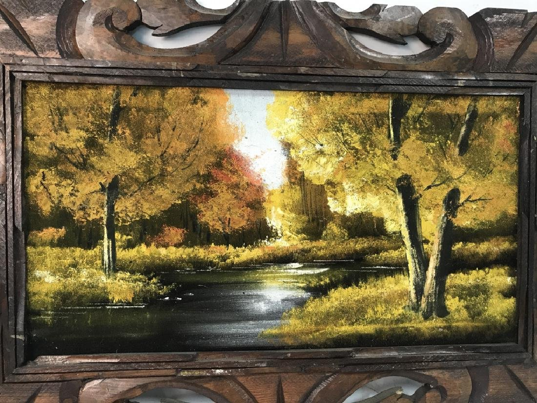 Autumn Stream Landscape On Cloth Oil Painting - 2