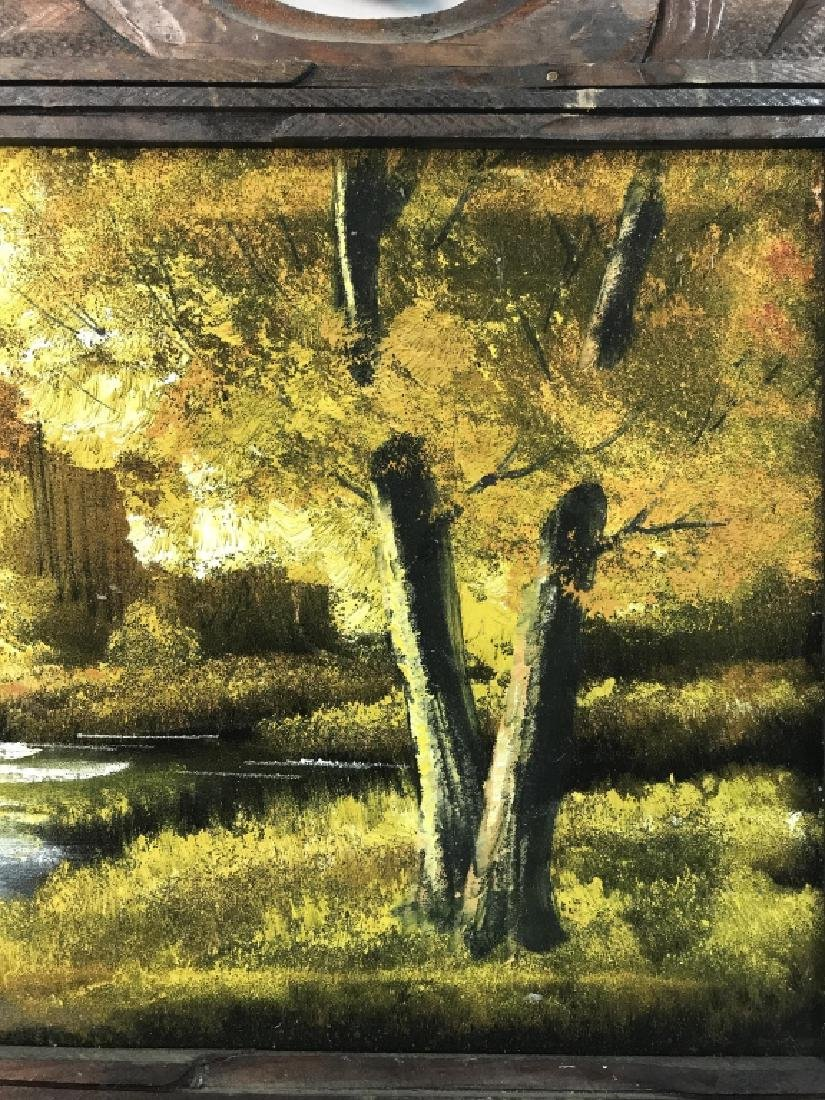Autumn Stream Landscape On Cloth Oil Painting - 4