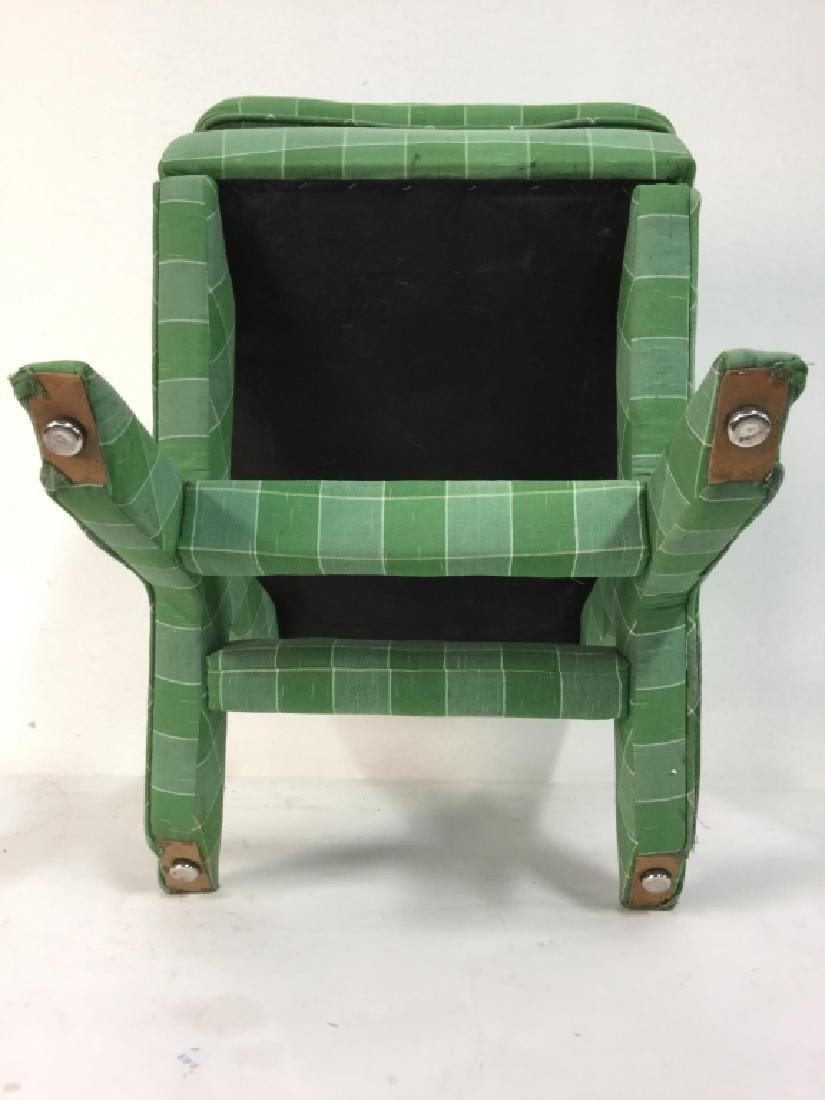 Vintage Green Toned Upholstered X Bench - 10
