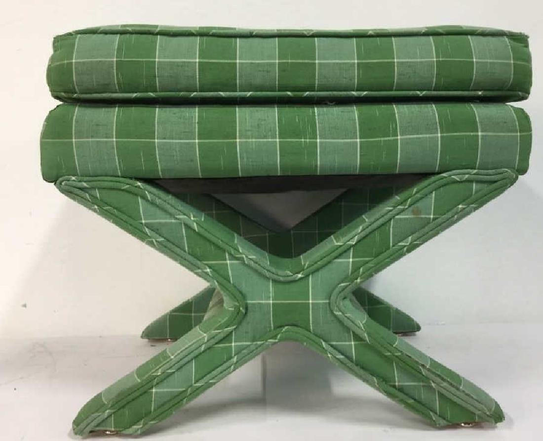 Vintage Green Toned Upholstered X Bench