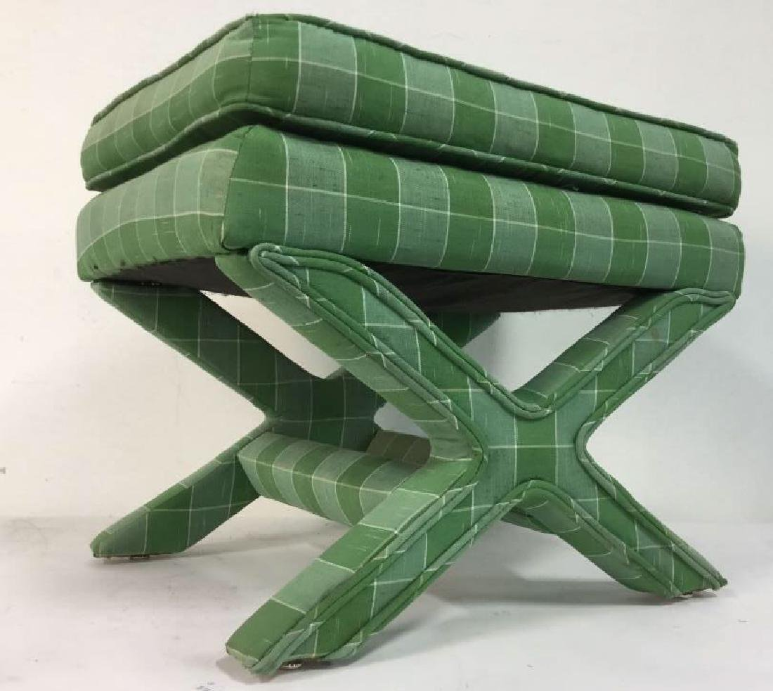 Vintage Green Toned Upholstered X Bench - 2