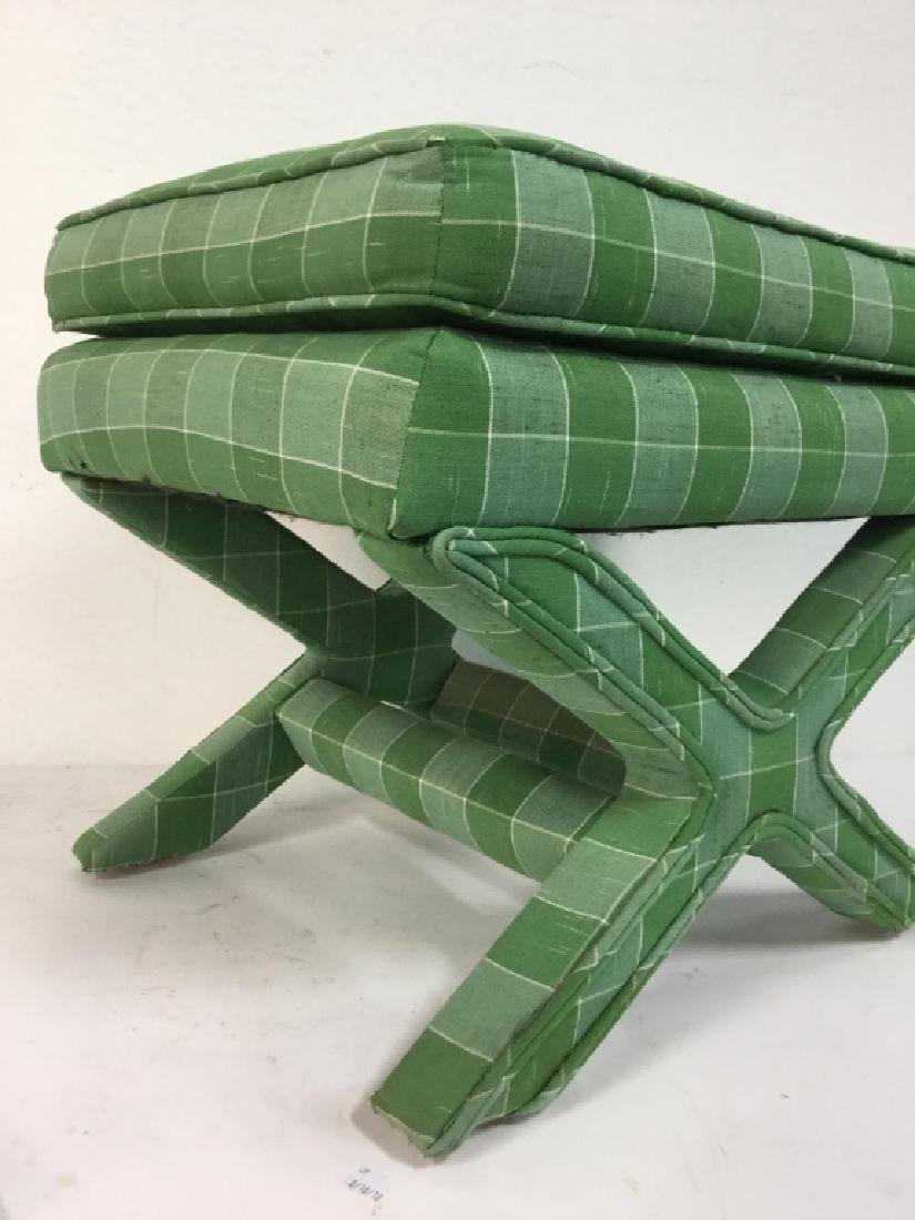 Vintage Green Toned Upholstered X Bench - 3