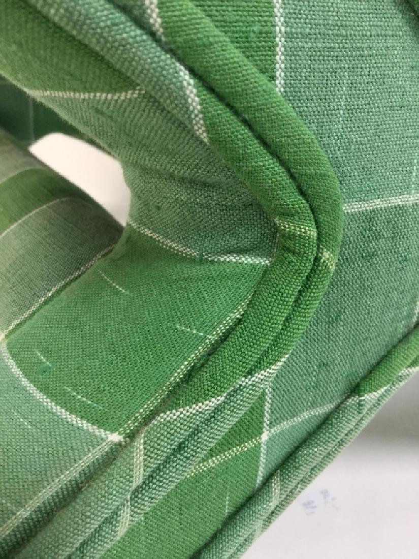 Vintage Green Toned Upholstered X Bench - 4