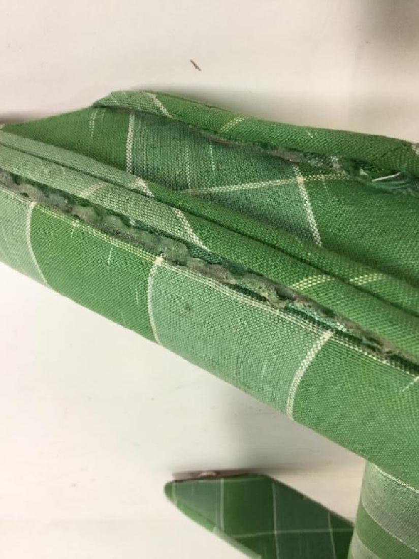 Vintage Green Toned Upholstered X Bench - 5