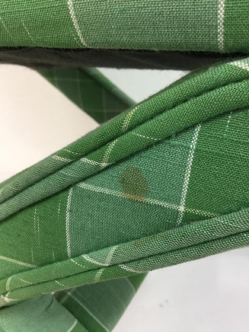 Vintage Green Toned Upholstered X Bench - 7