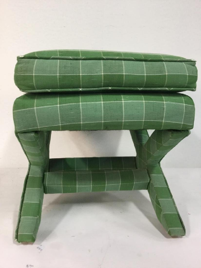 Vintage Green Toned Upholstered X Bench - 8