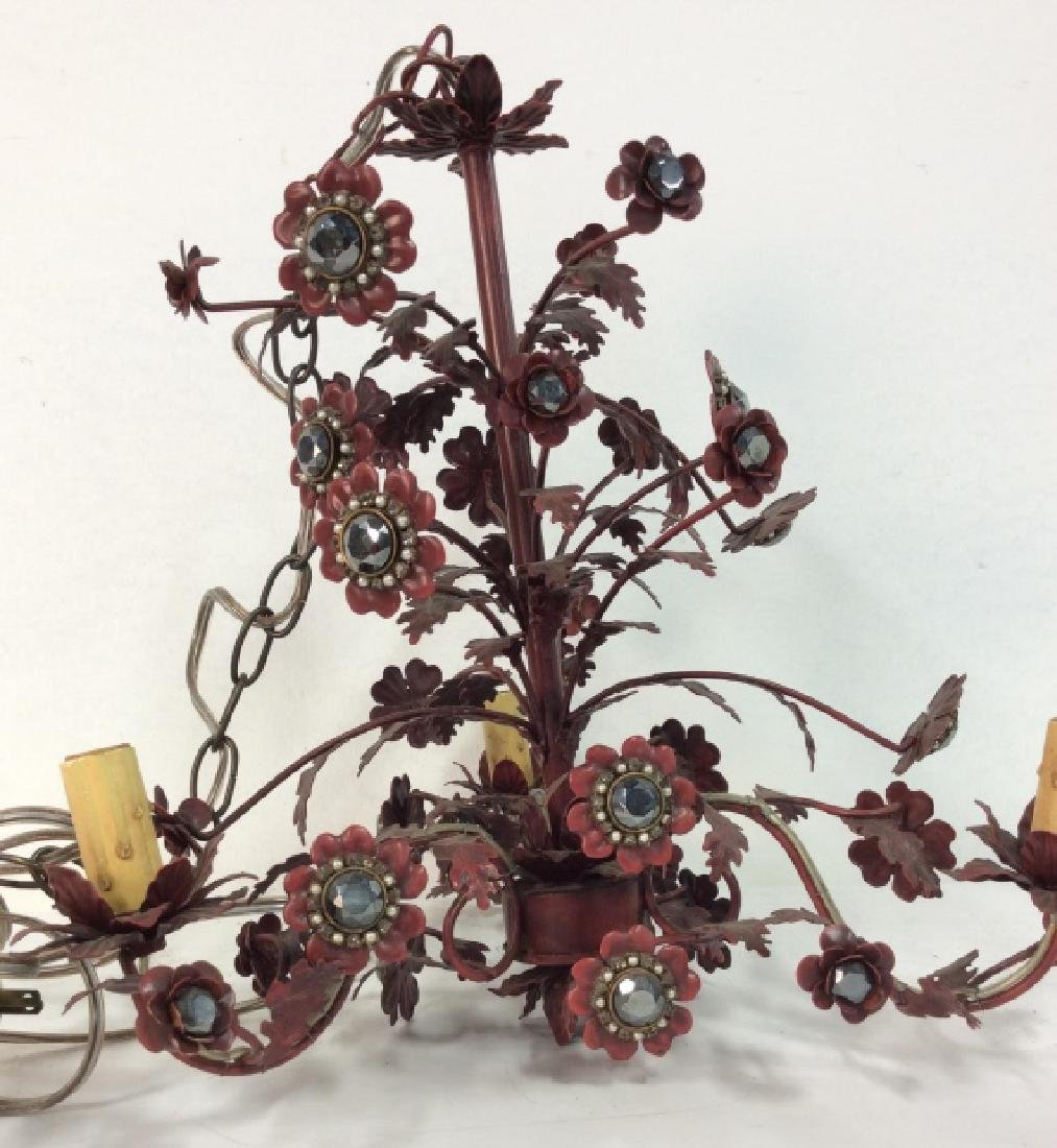 Red Painted Floral Chandelier - 2