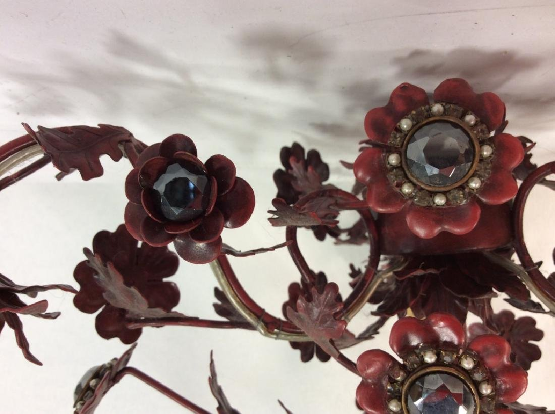 Red Painted Floral Chandelier - 6