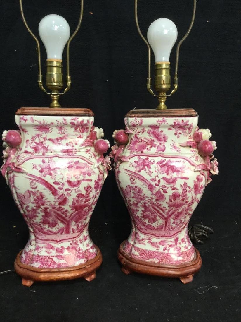 Pair Pink and White Asian Ceramic Lamps - 10
