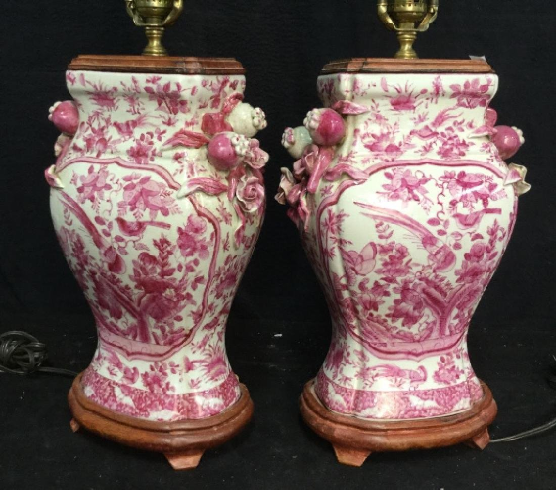 Pair Pink and White Asian Ceramic Lamps