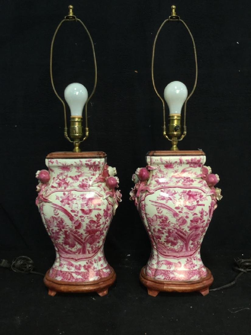 Pair Pink and White Asian Ceramic Lamps - 2