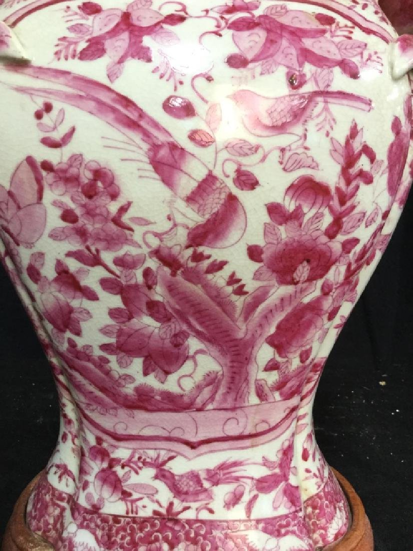Pair Pink and White Asian Ceramic Lamps - 5